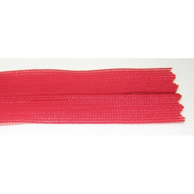 Zips krytý nedeliteľný 25cm červený