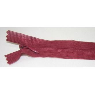 Zips krytý nedeliteľný 25cm bordová