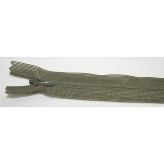 Zips krytý nedeliteľný 25cm tmavo zelná
