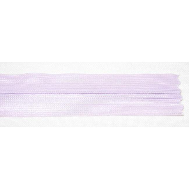 Zips krytý nedeliteľný 25cm bledučko fialová