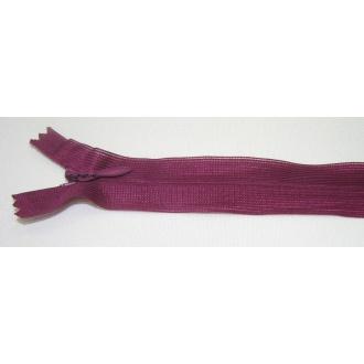 Zips krytý nedeliteľný 25cm tmavšia fialová