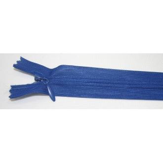 Zips krytý nedeliteľný 25cm tmavá kráľovská modrá
