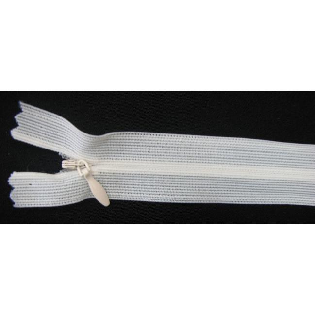 Zips krytý nedeliteľný 30cm smotanový