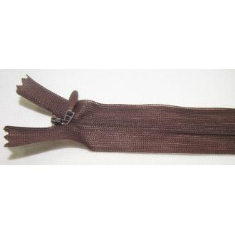 Zips krytý nedeliteľný 30cm tmavá hnedá