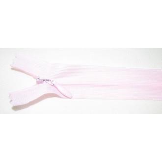 Zips krytý nedeliteľný 30cm bledučká ružová