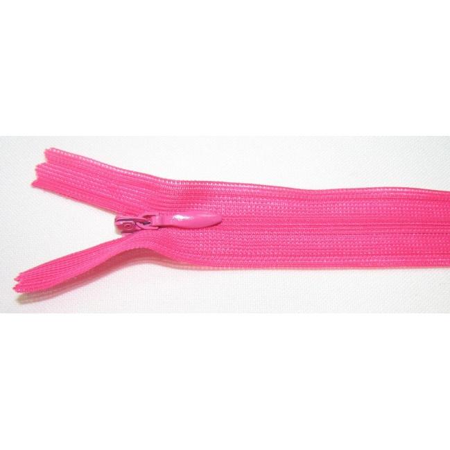 Zips krytý nedeliteľný 30cm cyklamenová