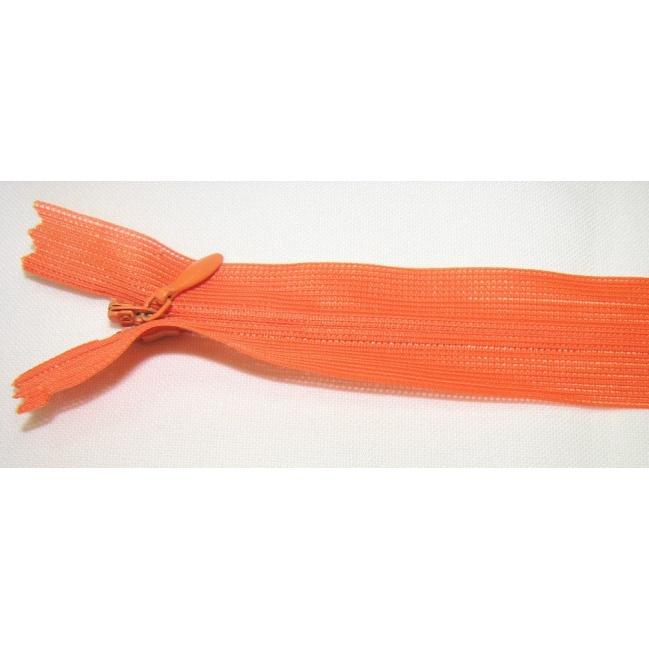 Zips krytý nedeliteľný 30cm oranžový