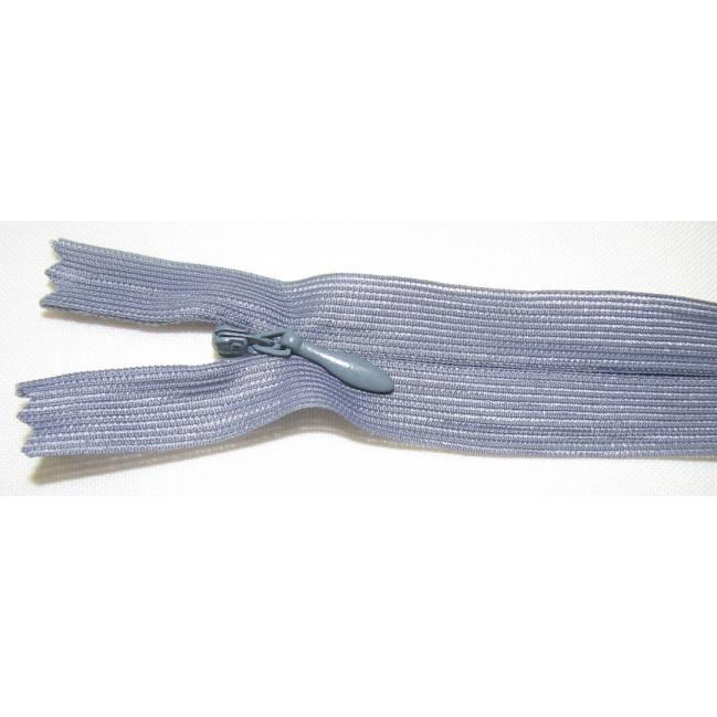 Zips krytý nedeliteľný 30cm tmavo šedá