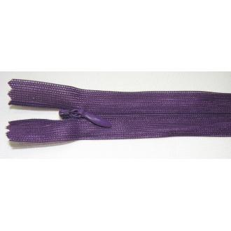 Zips krytý nedeliteľný 30cm tmavo fialová