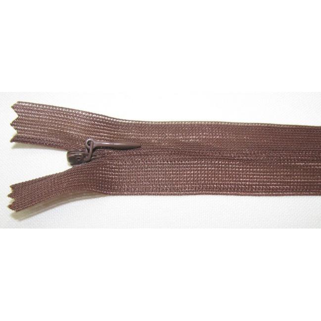 Zips krytý nedeliteľný 35cm hnedý