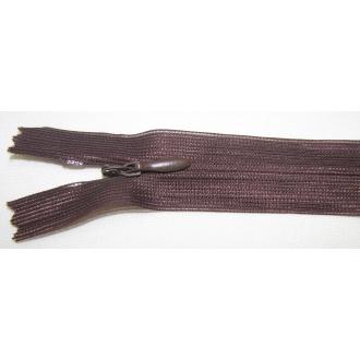 Zips krytý nedeliteľný 35cm tmavo hnedý