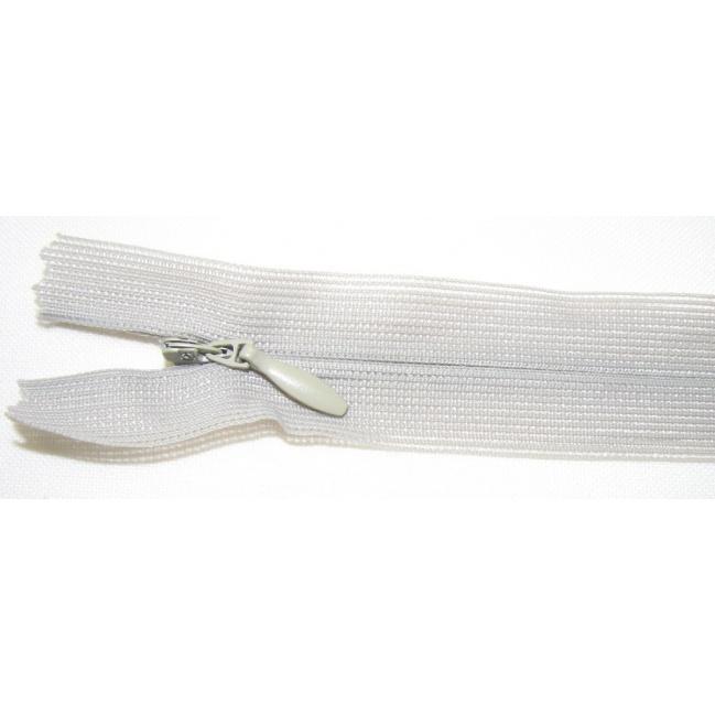 Zips krytý nedeliteľný 35cm šedá