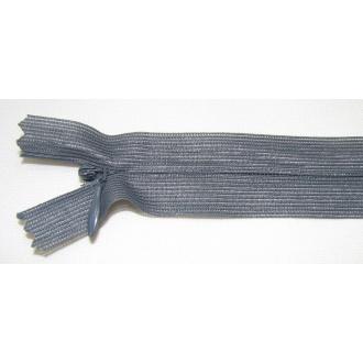 Zips krytý nedeliteľný 35cm tmavo šedá