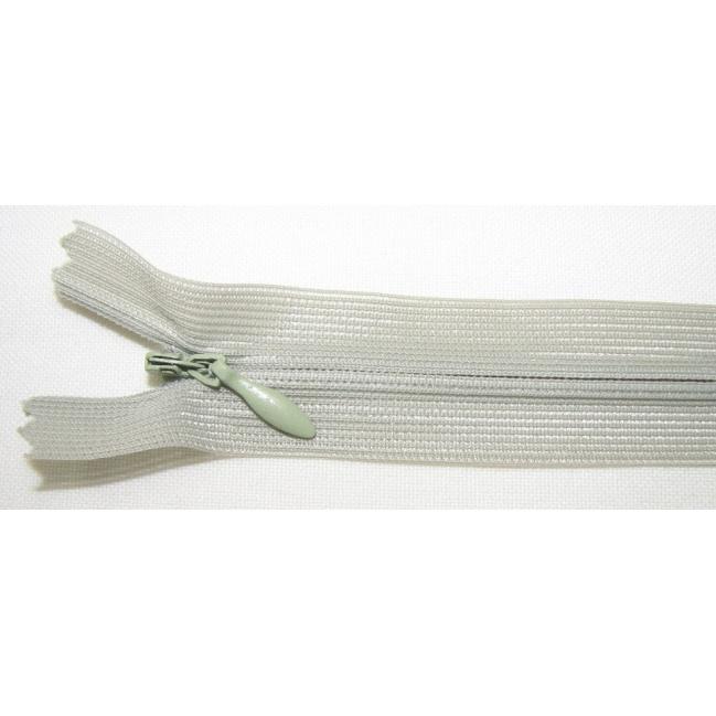 Zips krytý nedeliteľný 35cm bledo zelená