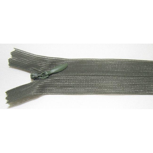 Zips krytý nedeliteľný 35cm tmavo zelená