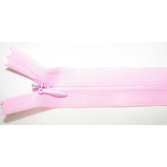 Zips krytý nedeliteľný 35cm ružová