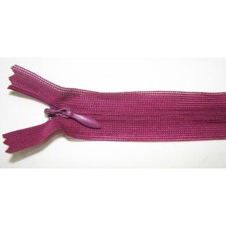 Zips krytý nedeliteľný 35cm tmavšia fialová