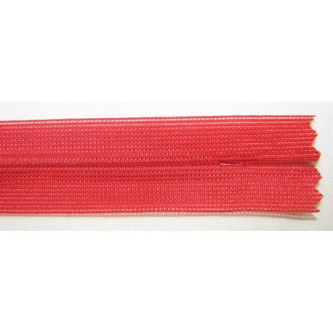 Zips krytý nedeliteľný 35cm červená