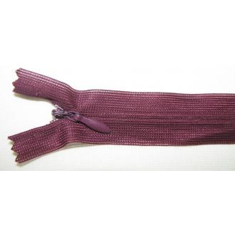 Zips krytý nedeliteľný 35cm bordová