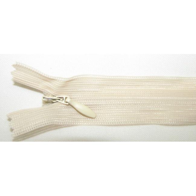 Zips krytý nedeliteľný 40cm bledý smotanový