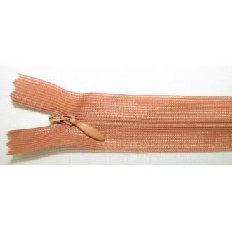 Zips krytý nedeliteľný 40cm bledý škoricový