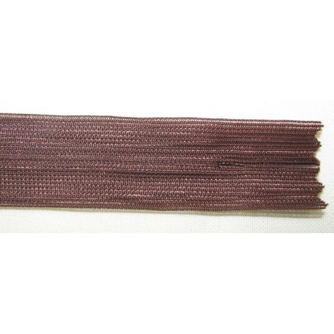 Zips krytý nedeliteľný 40cm tmavo hnedý