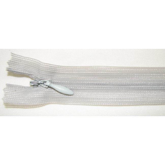 Zips krytý nedeliteľný 40cm bledo šedý