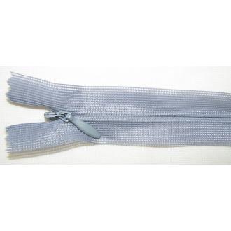 Zips krytý nedeliteľný 40cm šedý