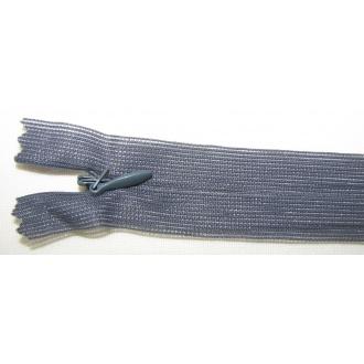 Zips krytý nedeliteľný 40cm tmavo šedý
