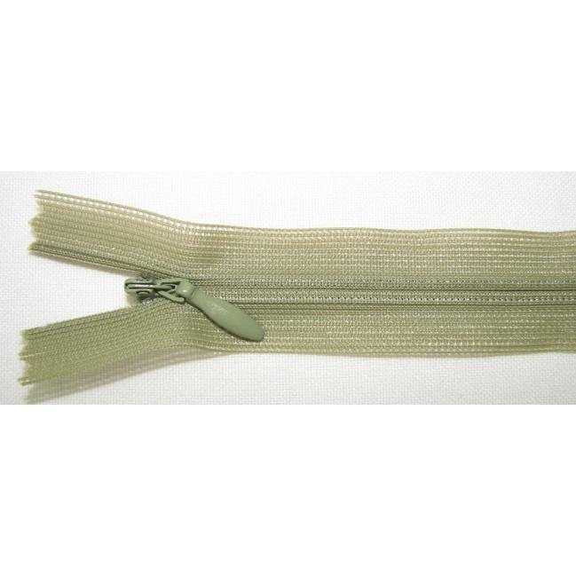 Zips krytý nedeliteľný 40cm zelená tmavšia