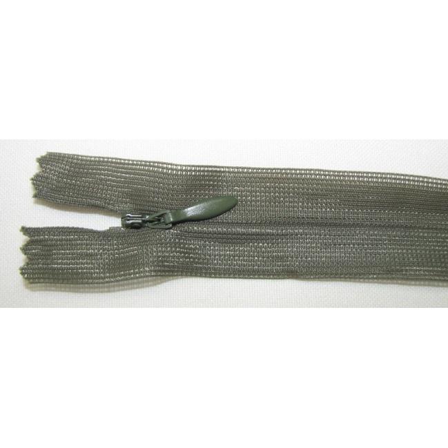 Zips krytý nedeliteľný 40cm tmavo zelená