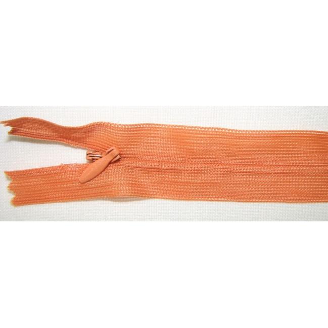 Zips krytý nedeliteľný 40cm bledšia oranžová