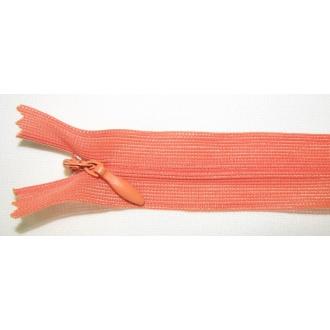Zips krytý nedeliteľný 40cm tmavšia oranžová
