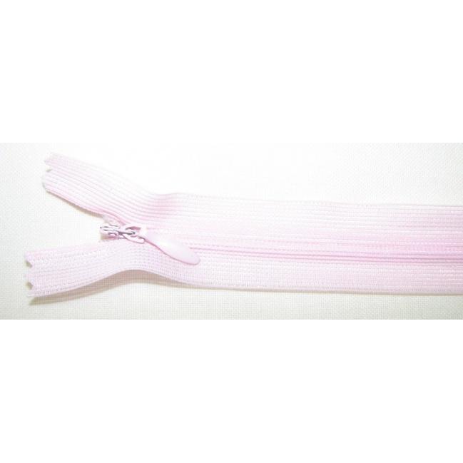 Zips krytý nedeliteľný 40cm bledučko ružová