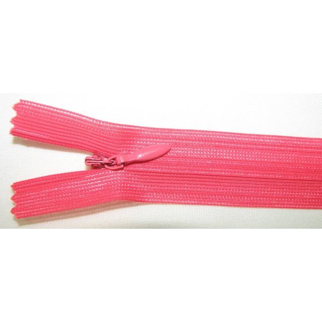 Zips krytý nedeliteľný 40cm jasná ružová