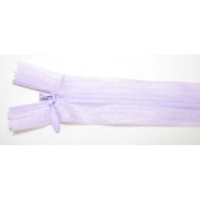 Zips krytý nedeliteľný 40cm bledučko fialový