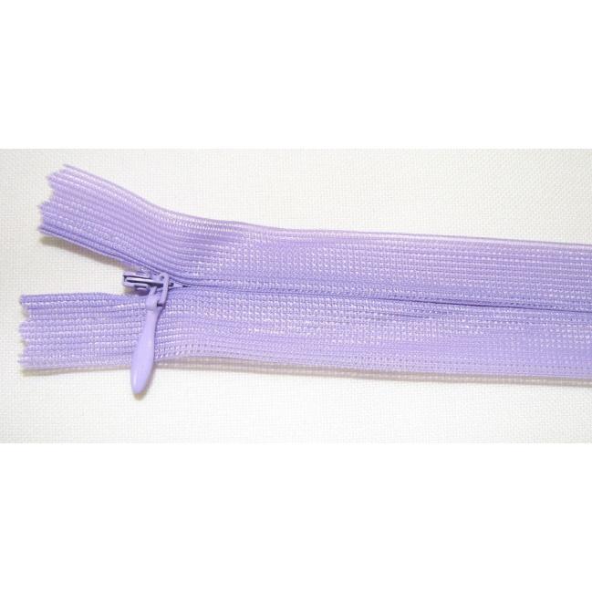 Zips krytý nedeliteľný 40cm fialový