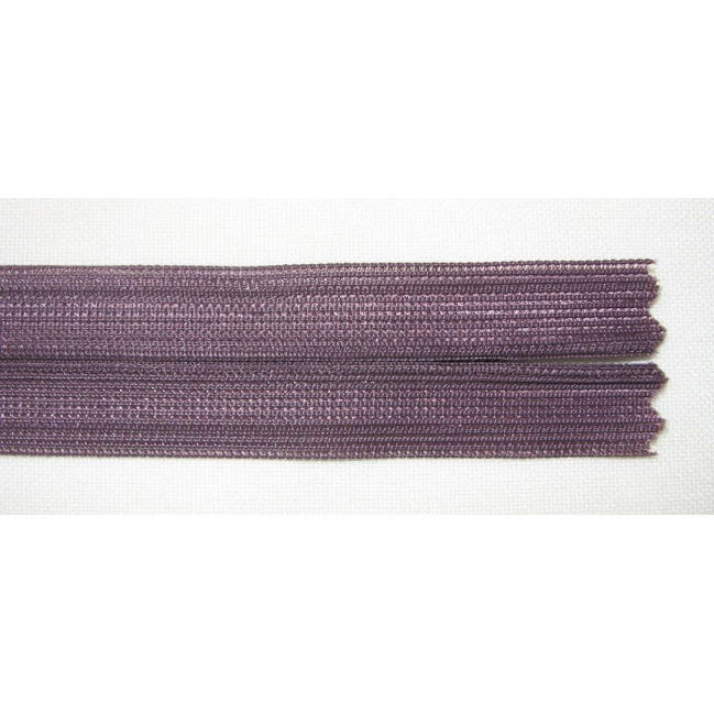Zips krytý nedeliteľný 40cm tmavo fialový