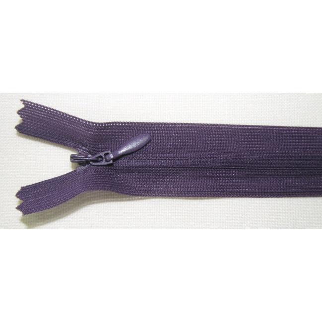 Zips krytý nedeliteľný 40cm tmavý fialový