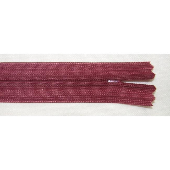 Zips krytý nedeliteľný 40cm bordový