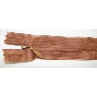 Zips krytý nedeliteľný 45cm škoricový