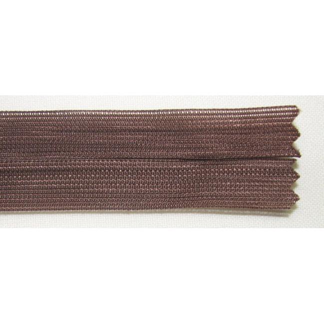 Zips krytý nedeliteľný 45cm tmavo hnedý