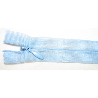 Zips krytý nedeliteľný 45cm bledo modrý