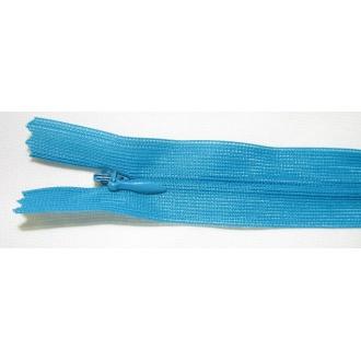Zips krytý nedeliteľný 45cm tyrkysová