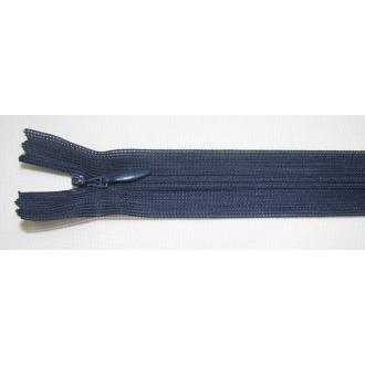 Zips krytý nedeliteľný 45cm tmavo modrý