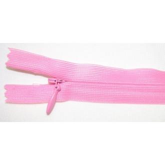 Zips krytý nedeliteľný 45cm ružový