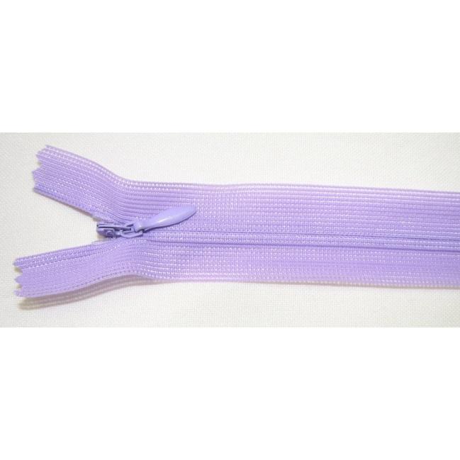 Zips krytý nedeliteľný 45cm fialová