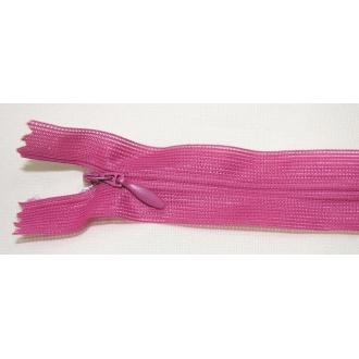 Zips krytý nedeliteľný 45cm ružovo-fialový