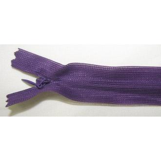 Zips krytý nedeliteľný 45cm tmavo fialový