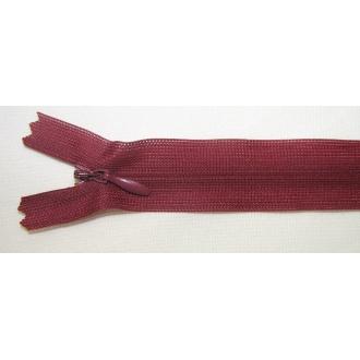 Zips krytý nedeliteľný 45cm bordový